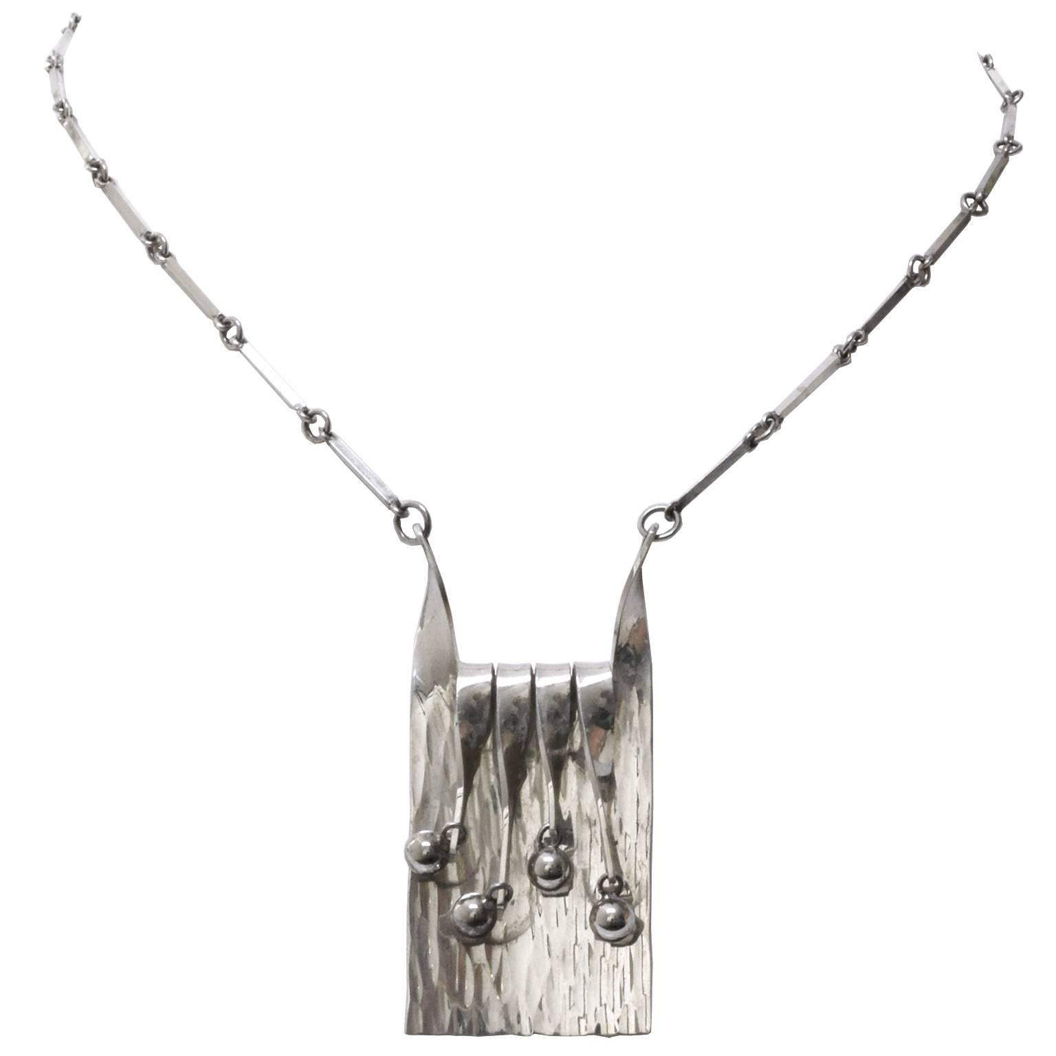 Scandinavian Modern Silver Necklace and Pendant by Eksjo, 1972