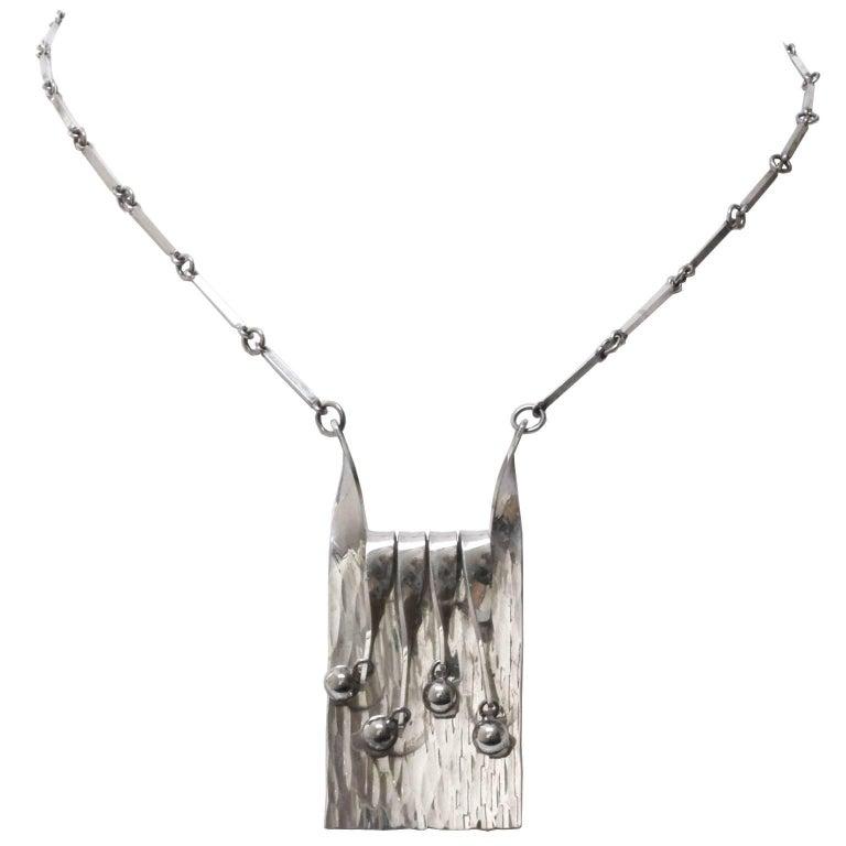 Scandinavian Modern Silver Necklace and Pendant by Eksjo, 1972 For Sale
