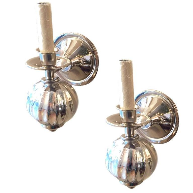 Wall Sconces With Mercury Glass : Pair of Mercury Glass Sconces For Sale at 1stdibs