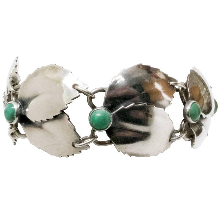 Scandinavian Modern Silver & Malachite Bracelet,Gertrud Engel, A. Michelsen 1950 For Sale