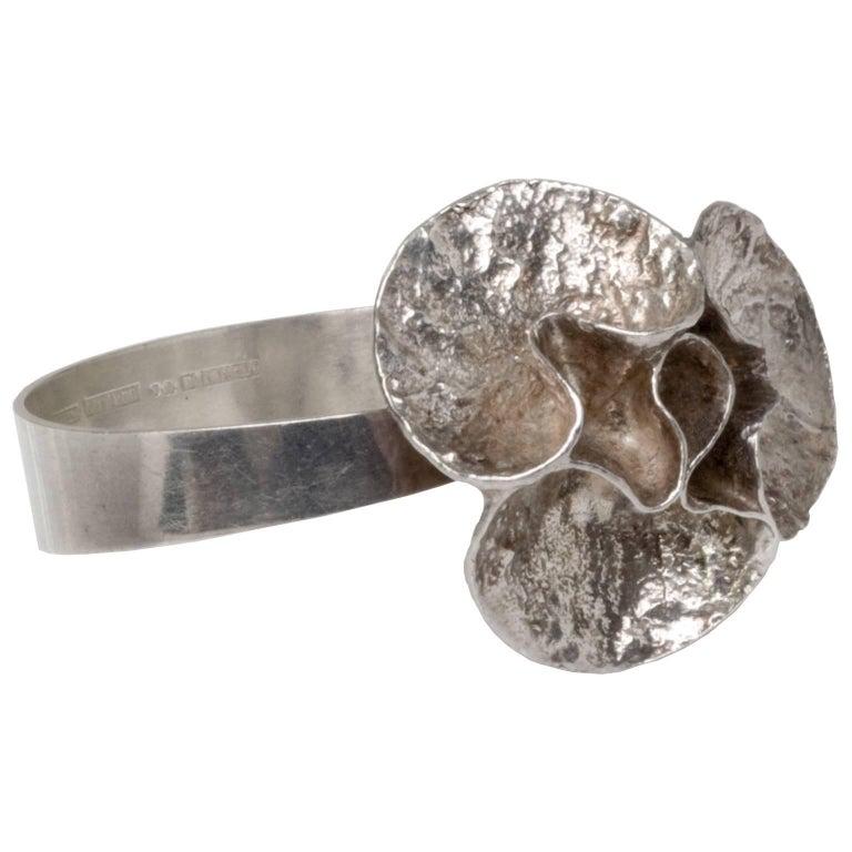 Scandinavian Modern Silver Bracelet by Theresia Hvorslev, Sweden For Sale