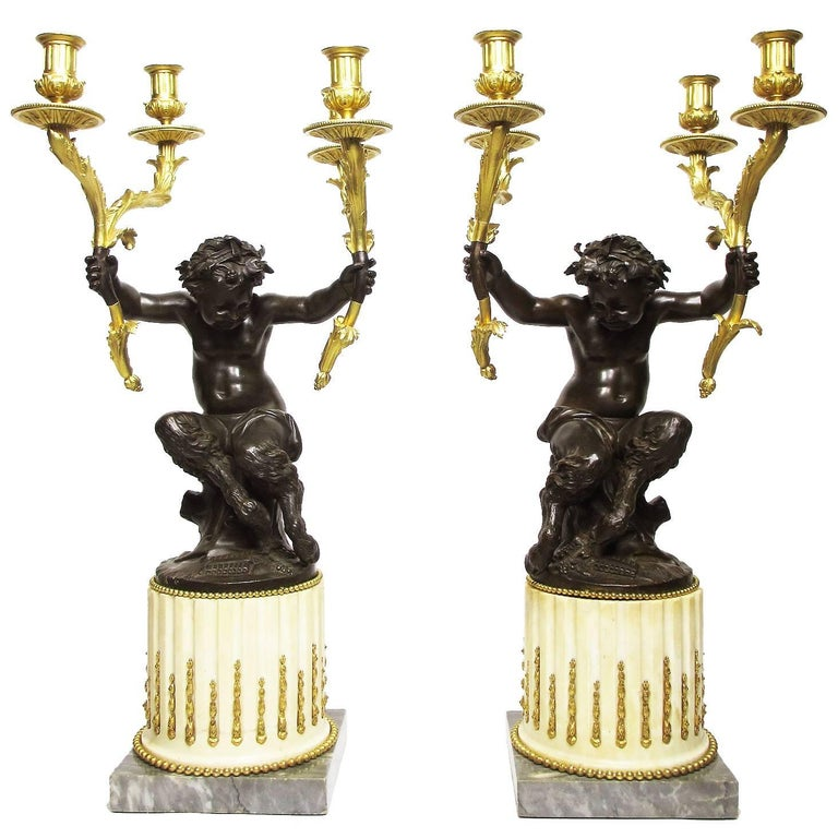 Fine Pair of French 19th Century Gilt and Patinated Bronze Figural Candelabra For Sale