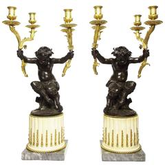 Fine Pair of French 19th Century Gilt and Patinated Bronze Figural Candelabra