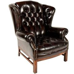Sinlgle Vintage Tufted Leather Wingback Chair