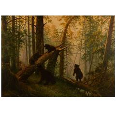 Unknown Russian Painter, Playful Bear Cubs in the Forest, Oil on Canvas