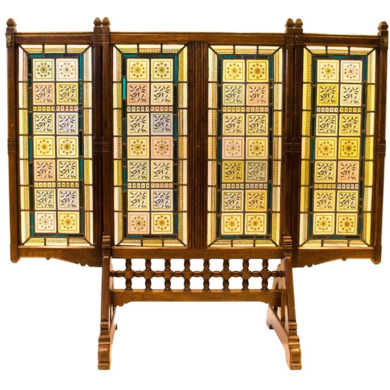 AWN Pugin Gothic Revival Oak, Leaded & Painted Glass Three-Fold Fire Screen For Sale