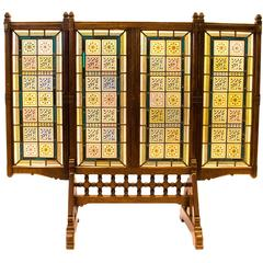 AWN Pugin Gothic Revival Oak, Leaded & Painted Glass Three-Fold Fire Screen