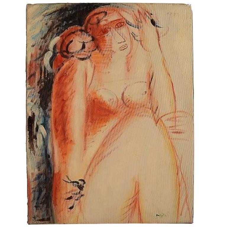 Oil on Canvas, Naked Woman, Unknown Artist, 20th Century For Sale