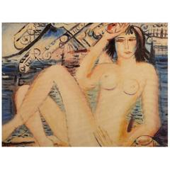 Oil on Canvas, Naked Woman, Unknown Artist, 20th Century