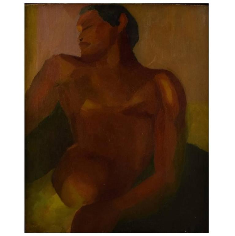 Oil on Canvas, Bare-Chested Male, Unknown Artist, 20th Century