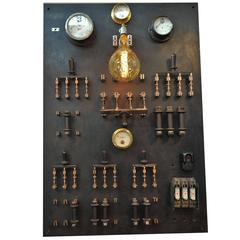 1950s French Bakelite and Steel Factory Switchboard Wall Light