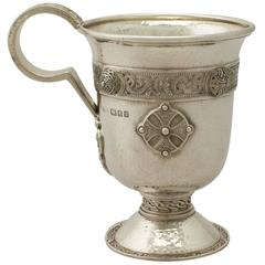 Antique, Sterling Silver Christening Mug by Asprey & Co Ltd in Lindisfarne Style
