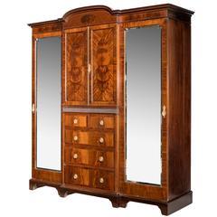 Early 20th Century Mahogany Breakfront Wardrobe