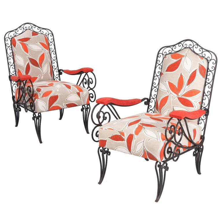 Pair of French 1940s Wrought Iron Upholstered Armchairs