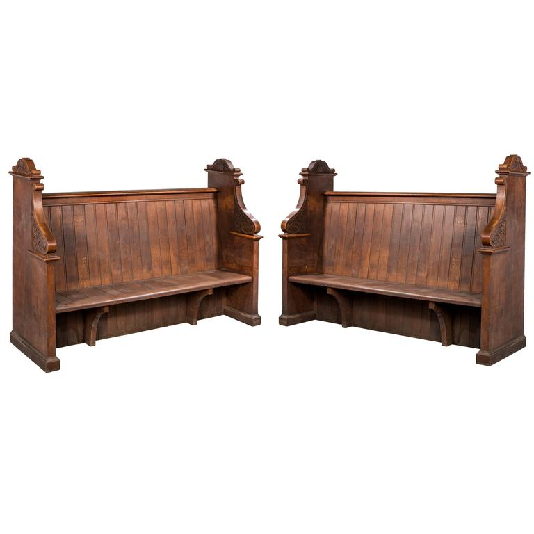 Late 19th Century Gothic Oak Pews 1