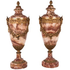 Pair of Louis XVI Style Marble and Ormolu Urns