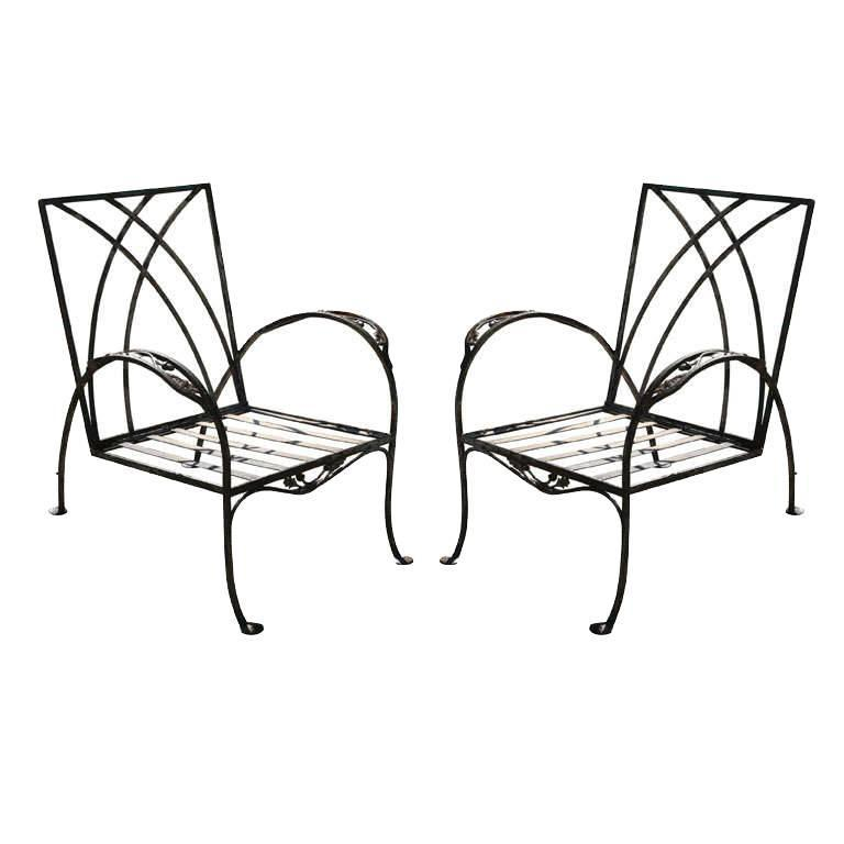 Pair of Regency Style Iron Garden Chairs