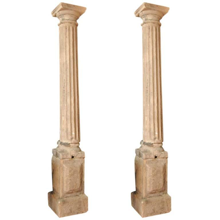 Stone Column Posts : Pair of early french stone columns on plinths for sale at