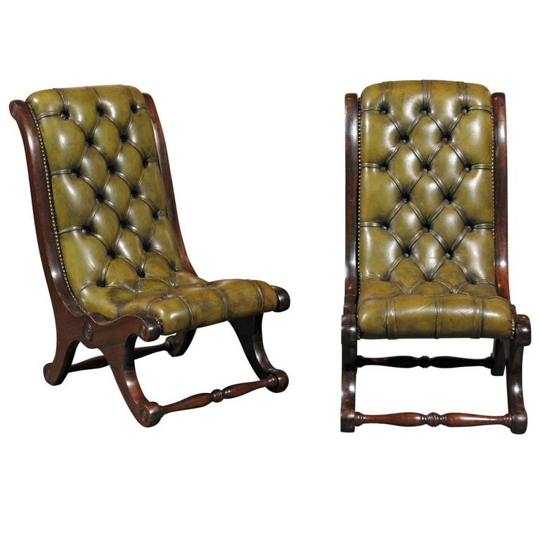 Pair Of English Green Leather Turn Of The Century Tufted Slipper Chairs