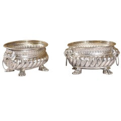 Pair of Chased Silver Plated Jardinieres with Lionhead Handles and Paw Feet