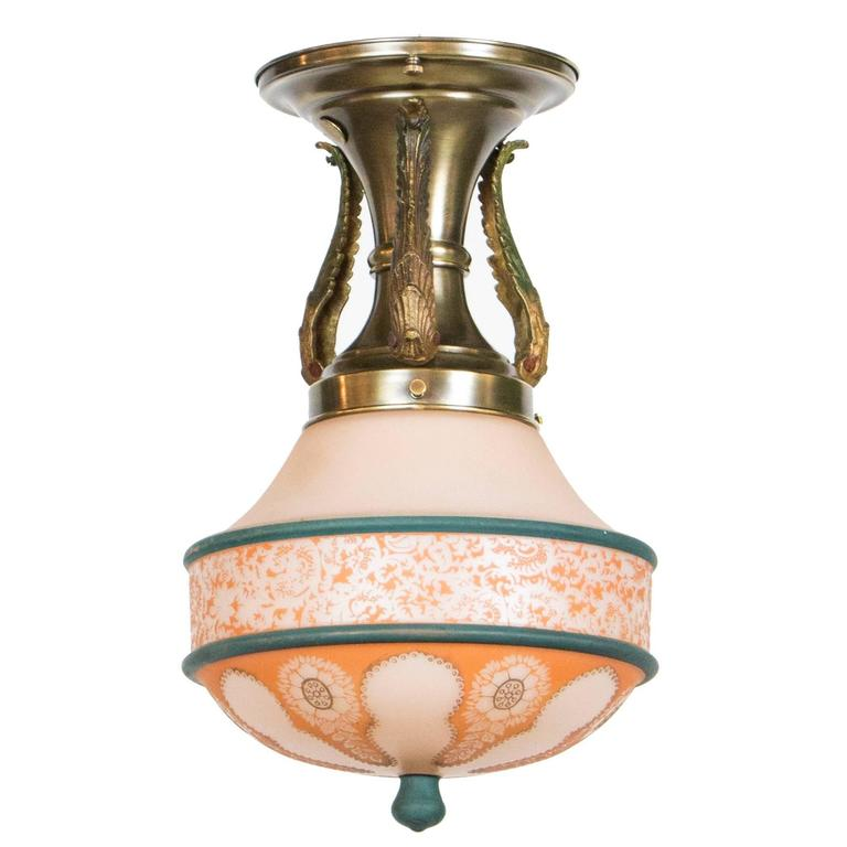 Ceiling Light Teal: Flush Mount Pendant Fixture With Coral And Teal Glass At