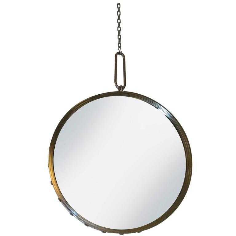Industrial Nickel-Plated Round Wall Mirror with Rivet Frame, Contemporary 1