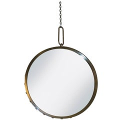 Industrial Nickel-Plated Round Wall Mirror with Rivet Frame, Contemporary