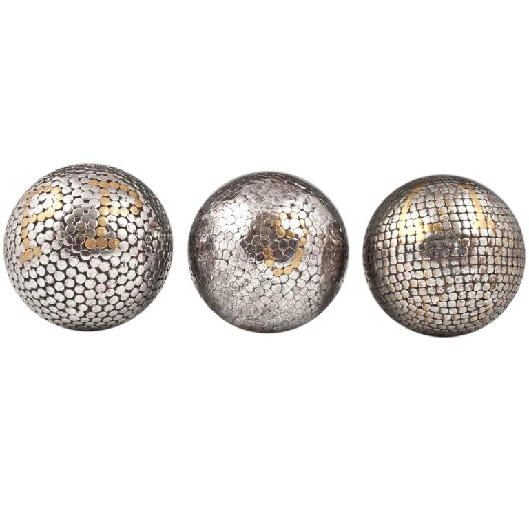 19th Century Bocce Balls, Italy or France, Set of Three For Sale