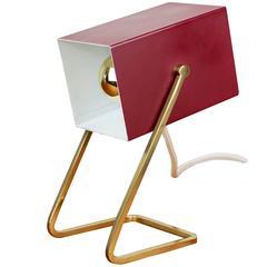 1950s German Minimalist Modernist Cube Table Lamp/Desk Light by Kaiser Leuchten