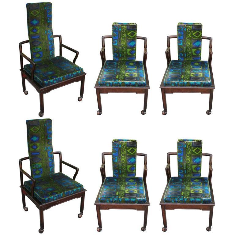 Set Of Six Modern Widdicomb Dining Chairs In Jack Lenor Larsen Blue Green  Velvet 1
