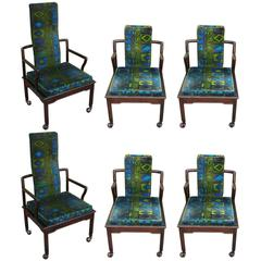 Set of six Modern Widdicomb Dining Chairs in Jack Lenor Larsen Blue Green Velvet
