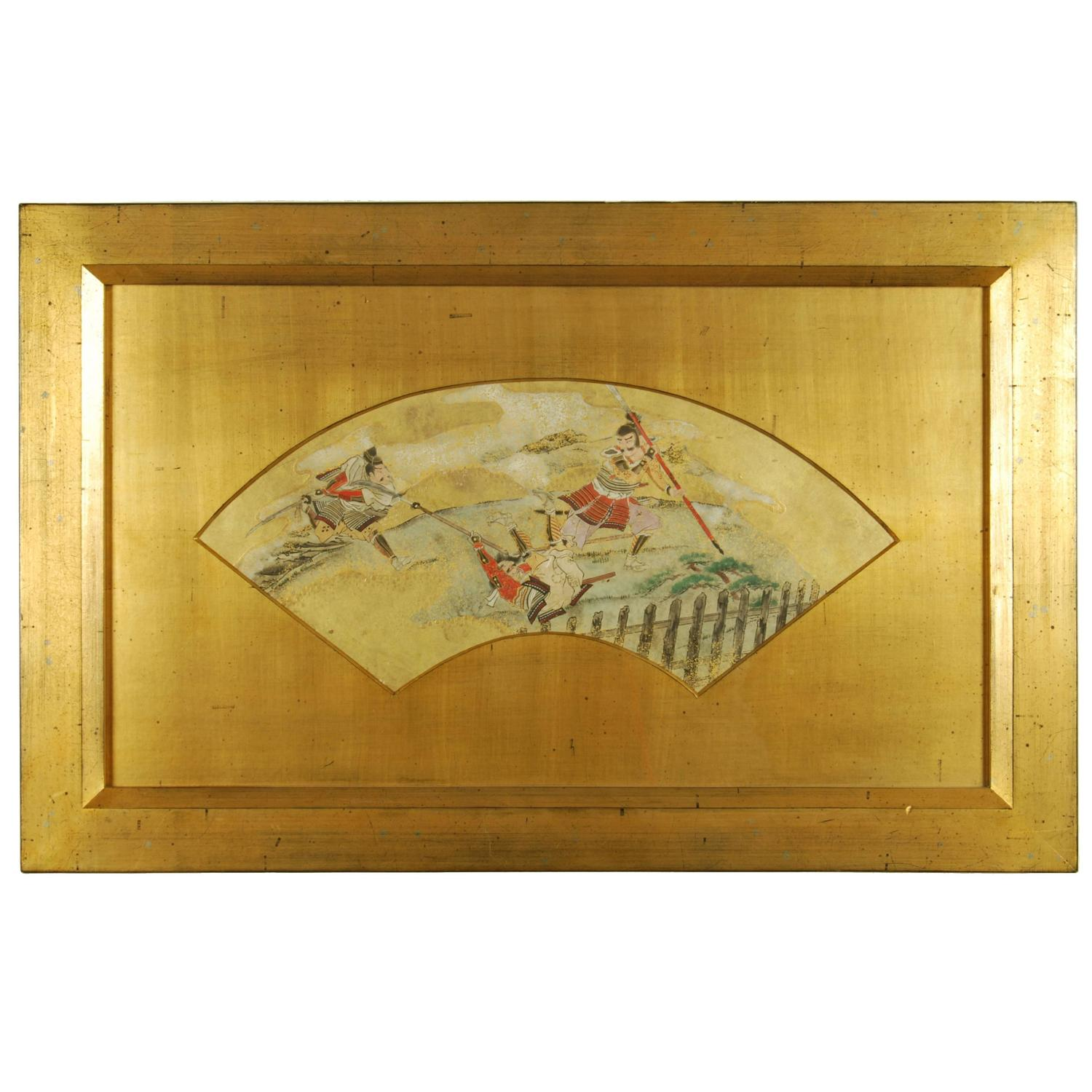 Antique japanese screens for sale - Antique Japanese Fan Painting With Scenes Of A Samurai Battle