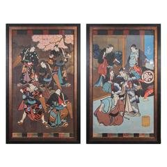 Antique Japanese Hand-Painted Kabuki Theatre Posters, 19th Century
