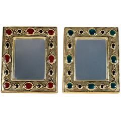 "1960s Pair of ""Jewels Mirror"", Enameled Ceramic, François Lembo"
