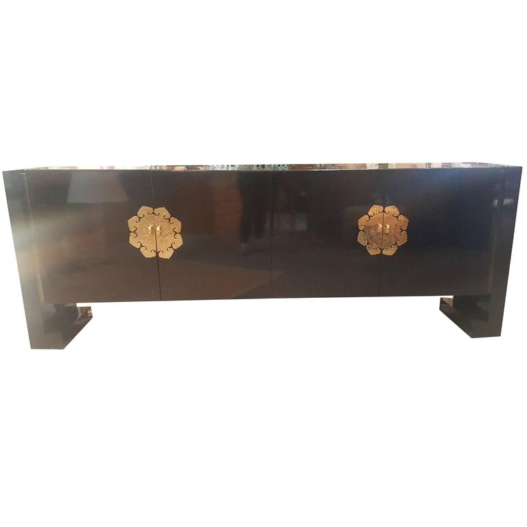 1960s Chinese Modern Period Buffet with Hand-Chased Brass Detailing For Sale