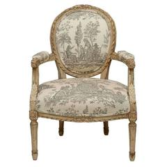 Louis XVI Style Painted Fauteuil
