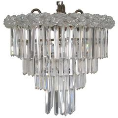 Cut and Pressed Glass Four-Tiered Chandelier