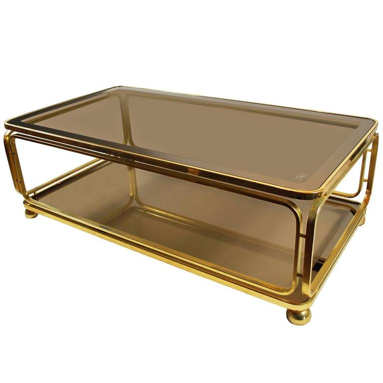 Vintage Italian Glass Gilt Metal Coffee Table Modern Signed At 1stdibs