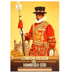 Original Vintage 1936 Travel Advertising Poster for 7 Days London by Hamburg Sud