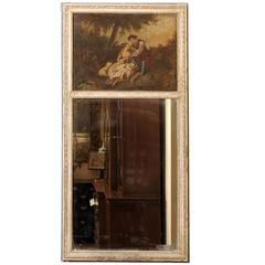 Early 19th Century French Trumeau Mirror with Oil on Canvas Painting