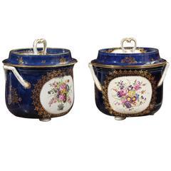 Pair of Cobalt Blue Worcester Fruit Coolers, England, circa 1780