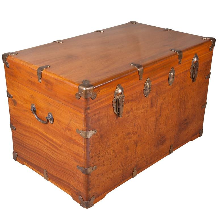 Wooden Chest Hardware ~ Late th century camphor wood sea chest with brass