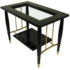 Lacquered Mahogany Table with Brass and Bronze Details by Frank Kyle, circa 1960