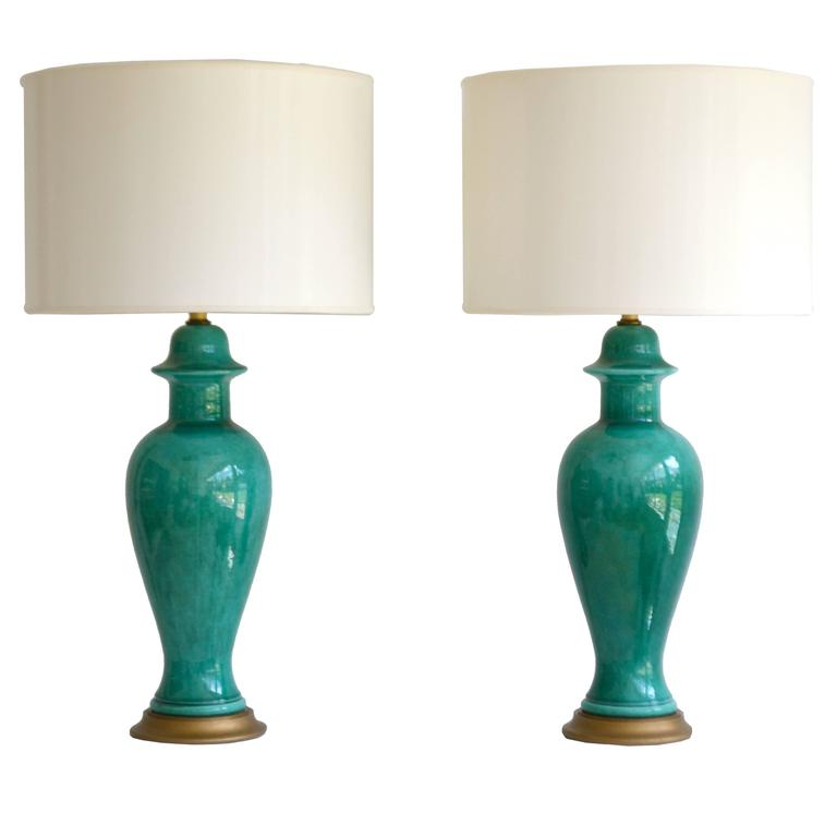 Pair of Hollywood Regency Ginger Jar Form Ceramic Table Lamps