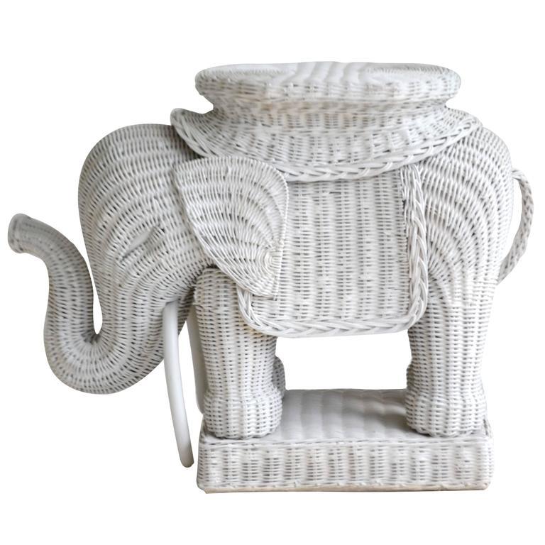 Mid Century Italian Woven Rattan Elephant Form Occasional