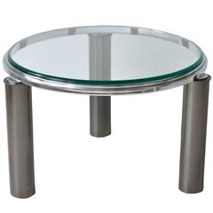 Postmodern Gunmetal and Chrome Side Table