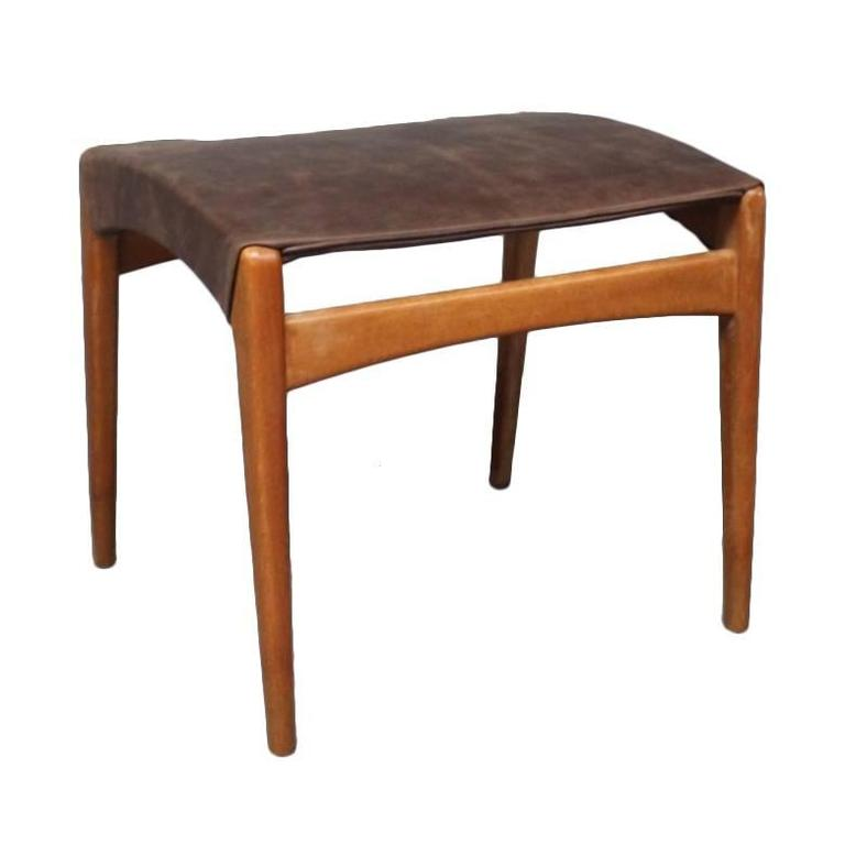 Stool in Polished Wood and Patinated Leather of Danish Design, 1960s
