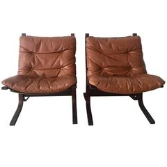 Pair of Leather Siësta Chairs by Ingmar Relling for Westnofa Furniture, Norway