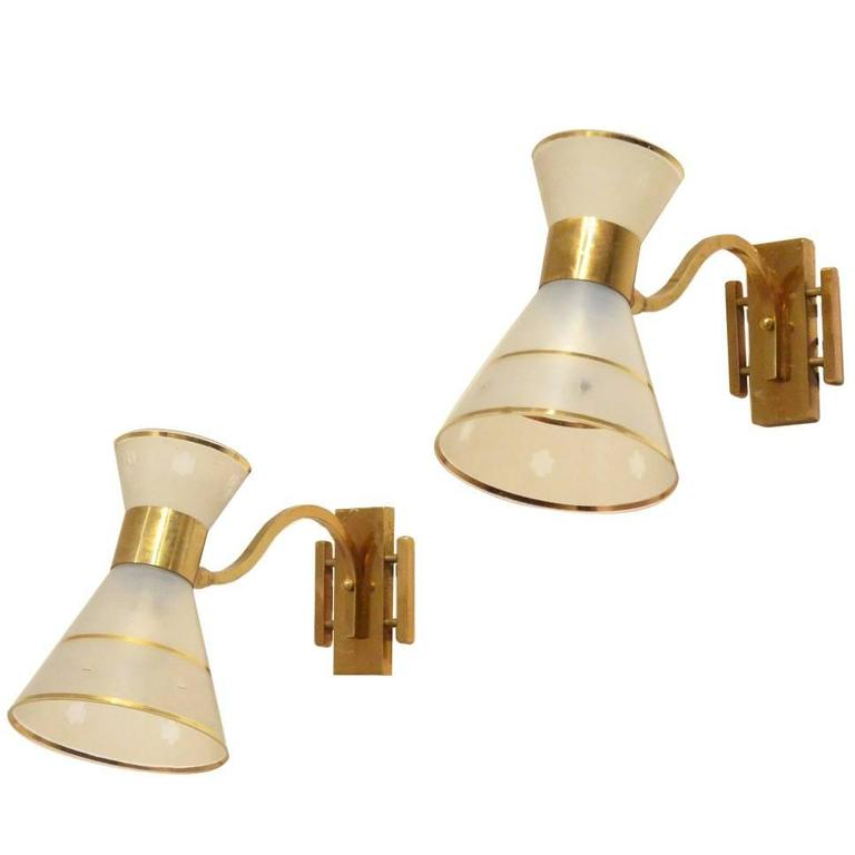 2x French Mid-Century Modern Design Glass Diabolo Shaded Brass Sconces Lamps