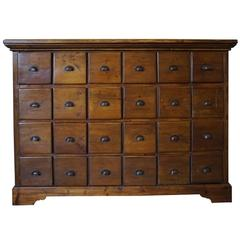 Vintage French Pine Apothecary Bank of Drawers, 1930s
